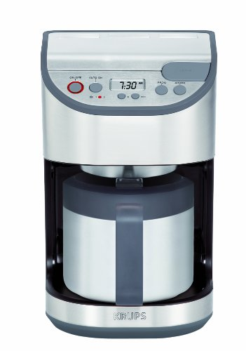 KRUPS KT611D50 Precision Programmable Thermal Carafe Coffee Maker with Stainless Steel Housing, 10-cup, Silver
