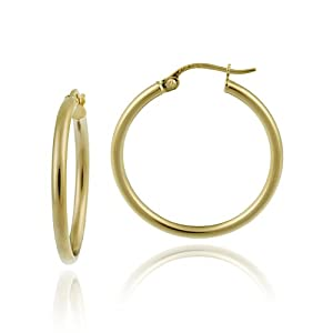 18k Yellow Gold Plated Sterling Silver Polished 2x25 Clicktop Hoop Earrings