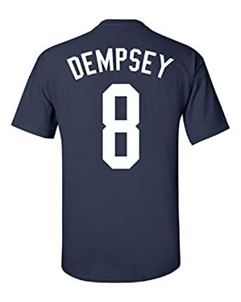 Jacted Up Tees Clint Dempsey USA World Cup Team Front and Back Men's T-Shirt - Small Navy (915)
