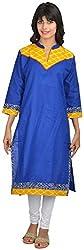 Goodyygoods Women's Cotton Regular Fit Kurti (GG 52, Blue, Large)