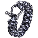 Generic Survival Bracelet Hand Ring Strap Weave Paracord Buckle Emergency Quick Release For Outdoors-Black+White