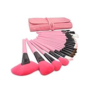 DragonPad® Roll up Case Kit 24 PCS Pro Wooden Handle Makeup Brush Tool (Pink)