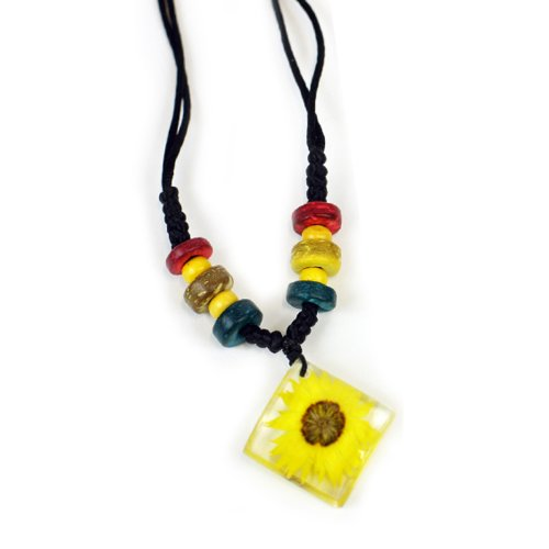 Yellow Acroclinium Flower Necklace, Clear