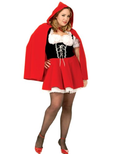 Plus Size Red Riding Hood Costume Dress with Hooded Cape Womens Theatrical