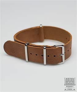 G10 NATO LEATHER WATCH STRAP, CAMEL (18,20 & 22mm) (18mm)