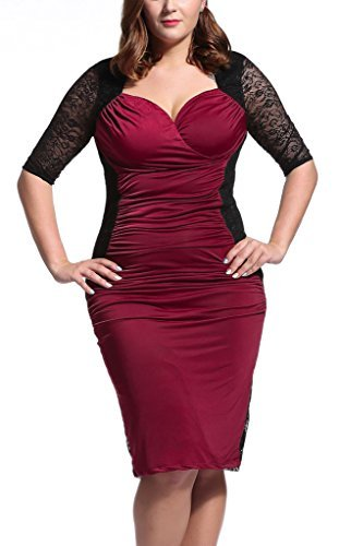 Dilanni-Women-V-Neck-Half-Sleeve-Ruched-Waisted-Plus-Size-Bodycon-Dress-0X-5X