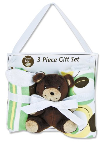Trend Lab 3 Piece Bib, Burp and Buddy Gift Set, Giggles