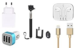 High Quality Selfie Stick , 2.0 Amp USB Charger, Golden USB Cable,3.5mm Jack Handsfree, 3 Jack USB Car Charger Compatible with Apple iPhone SE