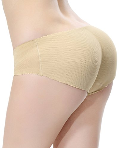 [Everbellus Women's Padded Seamless Butt Hip Enhancer Panties Boy Shorts Beige M] (Padded Underwear)