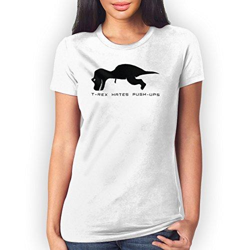 T Rex Hates Push Ups Large Donne T-Shirt