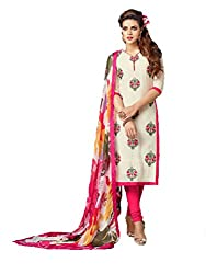 Siya Fashion women's Chanderi Party Wear Unstitched Dress Material(si716_Cream color)