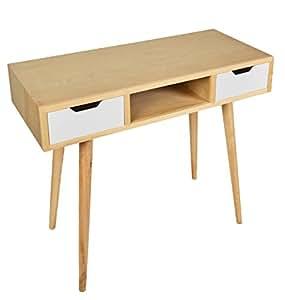 Bureau design en bois pour l 39 ordinateur bureau secr taire for Console informatique bois