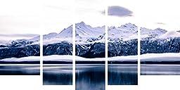 Startonight Canvas Wall Art Daydream Ice Age, Alaska, Frozen USA Design for Home Decor, Dual View Surprise Wall Art Set of 5 Total 35.43 X 70.87 Inch Original Art Painting!