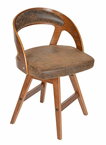 ts-ideen-1-x-Drehstuhl-Retro-Design-Chill-Lounge-Bar-Sessel-Stuhl-Holz-Kunstleder-Antik-Braun