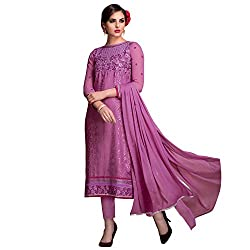 Bhelpuri Women Light Purple Brasso Georgette Dress Material