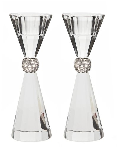 Godinger Palazzo Bling Crystal Taper Candle Holder Set of 2