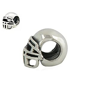 Highest Quality EvesErose Silver Football Helmet Bead Sterling Charm Fits Pandora & Similar Bracelets