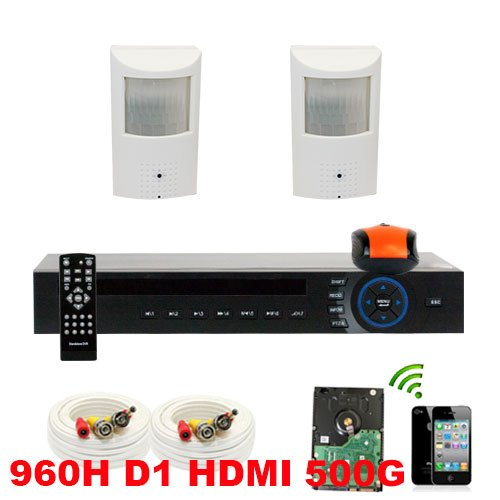 Gw 4 Channel 960H & D1 Real Time Dvr (500Gb Hdd) With 2X Sony Ccd Pinhole Hidden Camera Shaped Like Pir Motion Detector With Microphone 600 Tvl Security Camera System Cctv Surveillance Kit, Pc & Smartphone Viewable