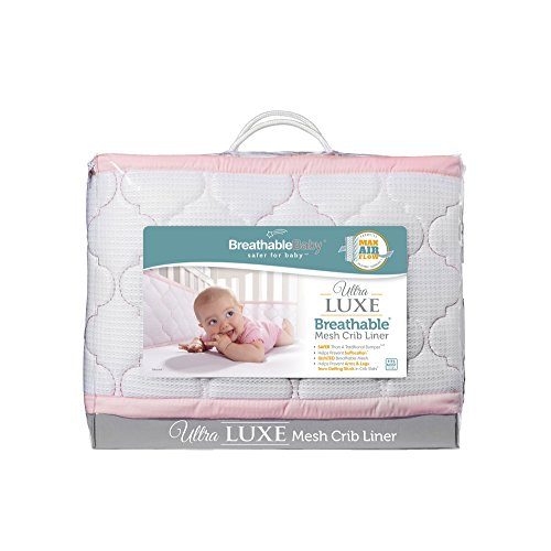 BreathableBaby Ultra Luxe Mesh Crib Liner White Pink