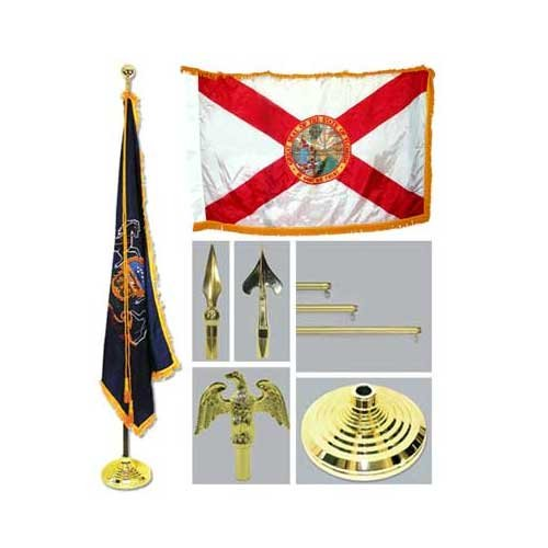 Florida 4Ft X 6Ft Flag Telescoping Flagpole Base And Tassel