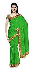 Sonani Women's Georgette Disigner Party wear Sarees with Blouse Piece (Green)