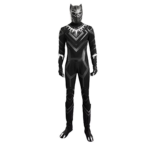 [HZYM Men's Captain America 3 Civil War Black Panther Cosplay Costume Deluxe Outfit (L)] (The Black Panther Costume)