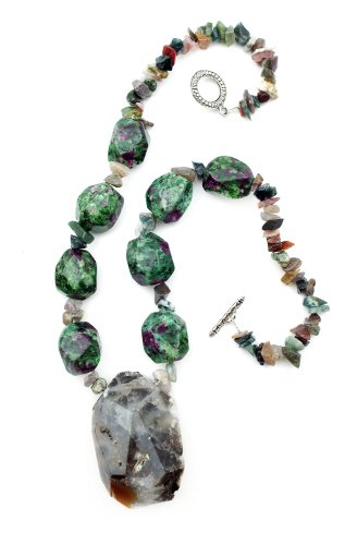 Natural Ruby Zoisite and Ocean Jasper Druzy Crystal Rock Stone and Amazonite Handmade Gemstone Necklace