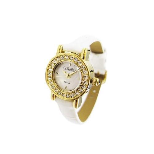 [アビステ]ABISTE ミニラウンドフェイスベルト時計/ホワイト 9100014G/W