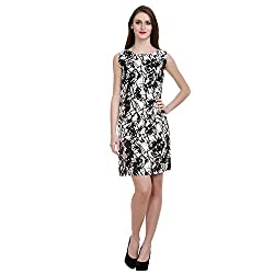MansiCollections Women's A-line Black, White Dress (X-Large)