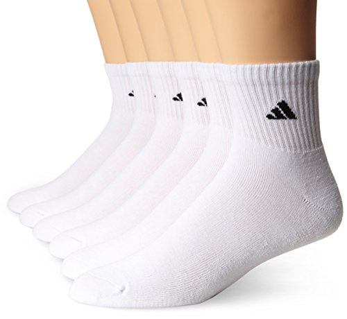 adidas Men's 6-Pack Quarter Sock (One Size- M 6-12, White/Black)
