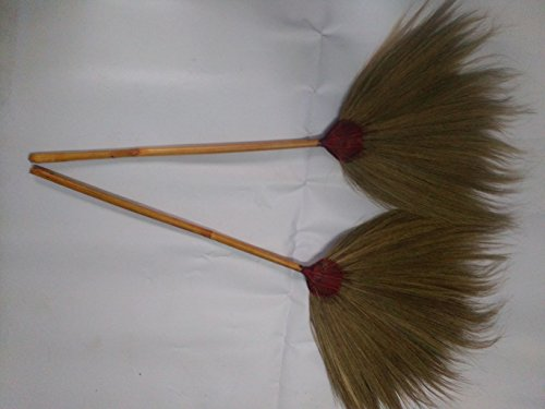Thai Broom Standing Straw Grass Broom Soft Handle made of bamboo23-24 inch (Power Broom Stihl compare prices)