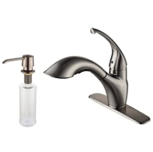 Kraus KPF-2210-KSD-30SN Single Lever Pull Out Kitchen Faucet and Soap Dispenser, Satin Nickel