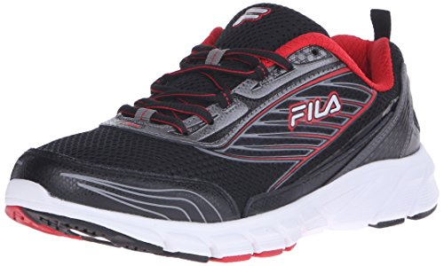 Fila Men's Forward 2-M Running Shoe, Black/Dark Silver/Fila Red, 9.5 M US