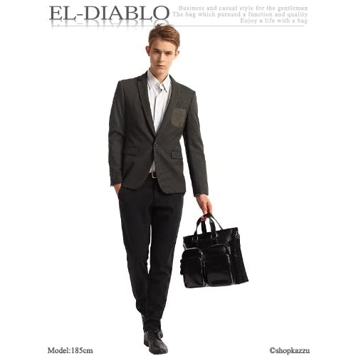 EL-DIABLO エルディアブロ ビジネスバッグ メンズ BK ヴィンテージ加工 多収納 2WAYバッグ ブラック 【EL-1001】