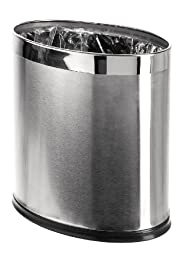 Brelso \'Invisi-Overlap\' Open Top Stainless Steel Trash Can, Small Office Wastebasket, Modern Home Décor, Oval Shape
