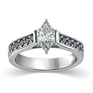 3/4 ct tw White & Black Marquise Cut Diamond Cathedral Accent Engagement Ring 14K White Gold