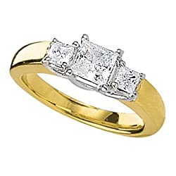 14Kt Gold 1/3 ctw. Princess Cut Three-Stone Diamond Ring