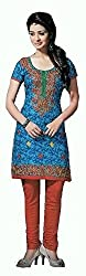 Pehnava Women's Cotton Unstitched Dress Material (HB042303_Blue_Free Size)