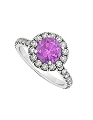 February Birthstone Amethyst And Cubic Zirconia Halo Engagement Ring In 925 Sterling Silver - B00UJFSFZS