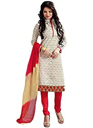 M Fab Ethnic Embroidered White Red Chanderi Cotton Free Size Straight Chudidar Salvar Suit Dress Material