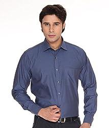 SPEAK Solid Egyption Cotton Formal Mens Shirt (38, Blue)