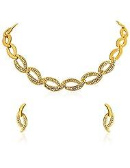 Oviya Gold Plated Shimmering Crystal Curves Necklace Set For Women NL2103073G