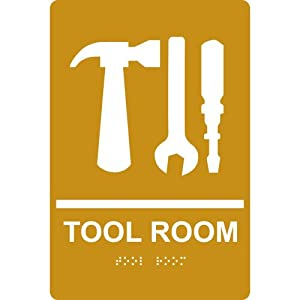 Amazon.com : ADA Tool Room With Symbol Braille Sign RRE-865-WHTonGLD