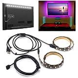 Generic 2PCS 50cm 5V 5050 Waterproof RGB USB LED Strip Light Bar TV Background Party Lighting Kit