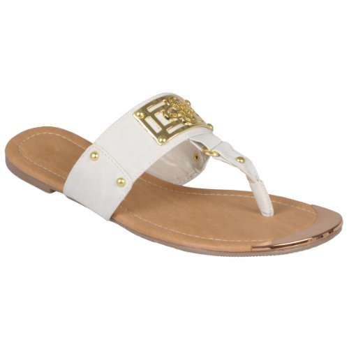 Brinley Co Women Metal Design T-Strap Sandals