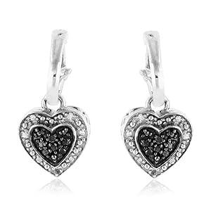 1/5 Carat Black & White Diamond Heart Dangle Earrings in Sterling Silver