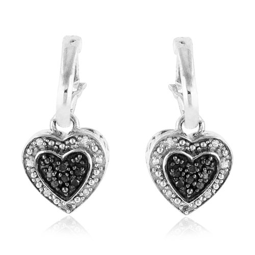 1/5 Carat Black &amp; White Diamond Heart Dangle Earrings in Sterling Silver