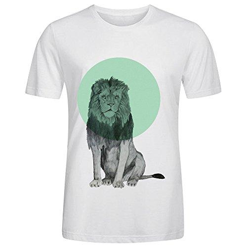 Vintage Crew Collar Spring T Shirt-Sitting Lion White