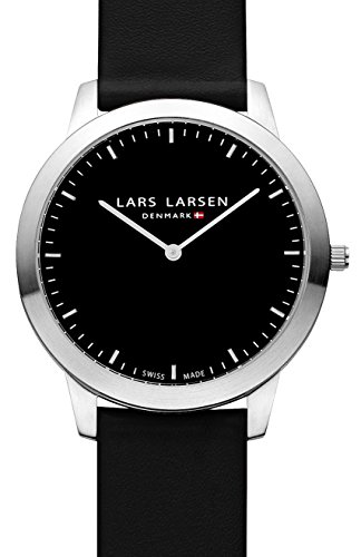 Lars Larsen Rene Unisex Quartz Watch with Black Dial Analogue Display and Black Leather Strap 135SBBL