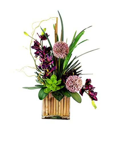 Creative Displays Tropical Cymbidium & Allium Arrangement I, Purple/Mauve/Green
